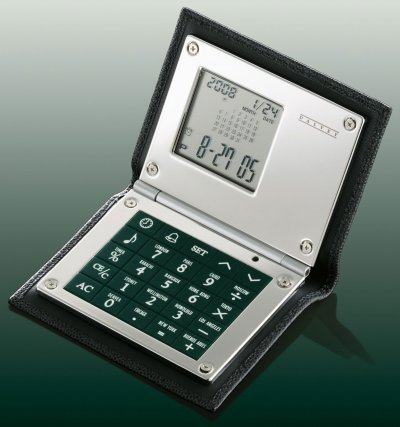 Leather Calculator Black Caviar Leather