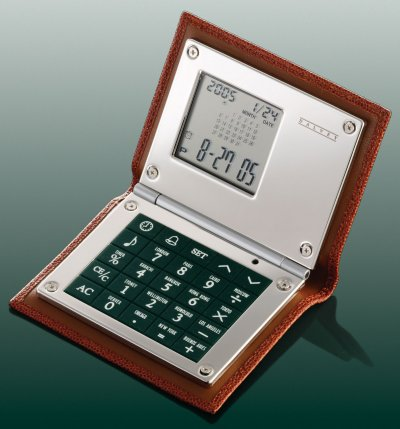 Leather Calculator Brown Caviar Leather