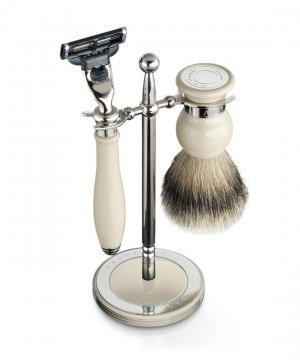 Classic Shaving Set & Stand Ivory Handle/Best Badger Brush