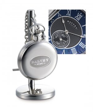 Full Hunter Pocket Watch Black Mother Of Pearl & Stand Set