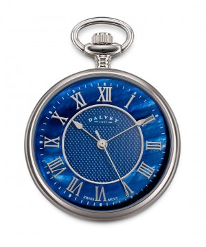 Compact Open Face Pocket Watch Blue Mother Of Pearl