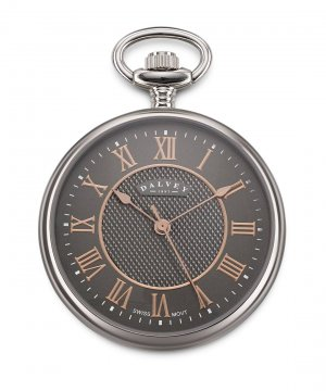 Compact Open Face Pocket Watch Grey/Rosegold