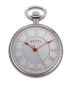 Compact Open Face Pocket Watch White/Orange
