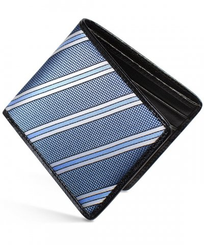 Slim Wallet Black Caviar & Natte Stripe blue