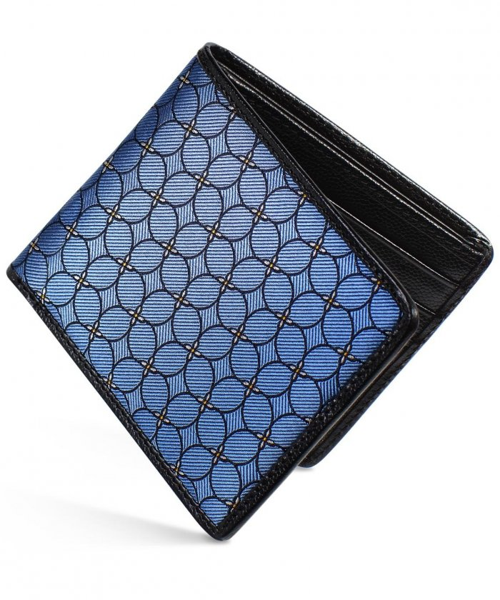 Silk Wallet Black Caviar & Petal Quadrille Blue