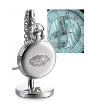Full Hunter Pocket Watch & Stand Set Turquoise