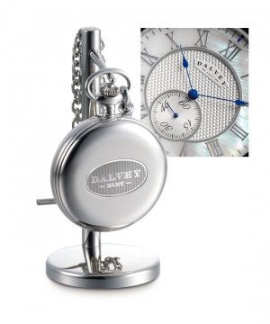 Full Hunter Pocket Watch & Stand Set Mother Of Pearl