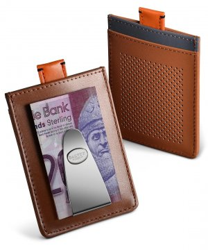 Explorer Credit Card Case & Money Clip Tan Leather with Grey
