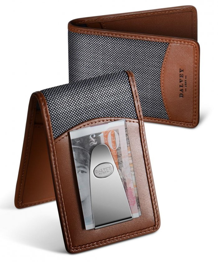 Insignia Wallet Tan Leather & Grey Birdseye