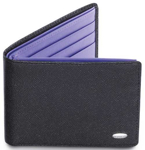 X Compact Wallet Black Caviar With Purple